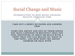 Social Change and Music