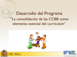 """Desarrollo del Programa  """" La consolidación de las CCBB como elemento esencial del currículum"""""""