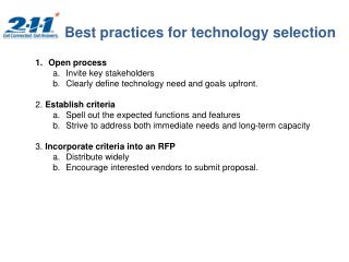 Best practices for technology selection