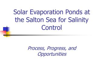 Solar Evaporation Ponds at the Salton Sea for Salinity Control