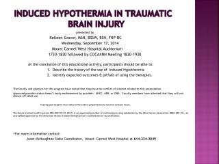 Induced Hypothermia In Traumatic  Brain  Injury