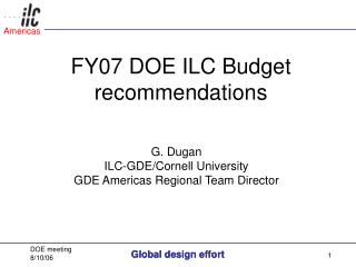 FY07 DOE ILC Budget recommendations