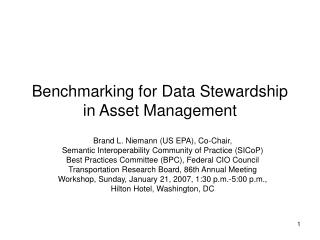 Benchmarking for Data Stewardship in Asset Management