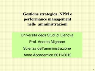 Gestione strategica, NPM e  performance management  nelle  amministrazioni