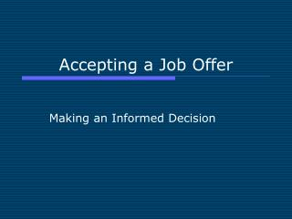 Accepting a Job Offer
