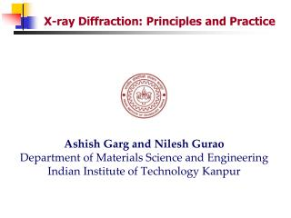X-ray Diffraction: Principles and Practice