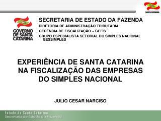 EXPERIÊNCIA DE SANTA CATARINA NA FISCALIZAÇÃO DAS EMPRESAS DO SIMPLES NACIONAL