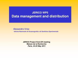 JERICO WP5 Data management and distribution
