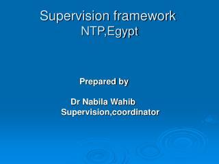 Supervision framework NTP,Egypt