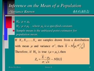 Inference on the Mean of a Population - Variance Known
