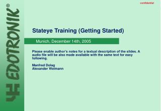 Stateye Training (Getting Started)