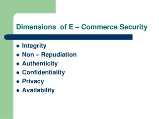 Dimensions  of E � Commerce Security