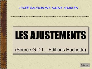 LES AJUSTEMENTS (Source G.D.I. - Editions Hachette)