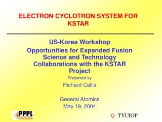 ELECTRON CYCLOTRON SYSTEM FOR KSTAR