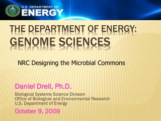 The Department of Energy: Genome Sciences