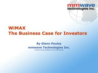 WiMAX The Business Case for Investors