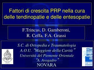 Fattori di crescita PRP nella cura delle tendinopatie e delle entesopatie