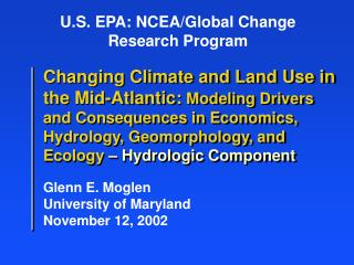 U.S. EPA: NCEA/Global Change Research Program