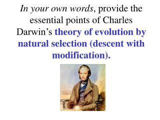 Darwin's Theory of Evolution Descent With Modification