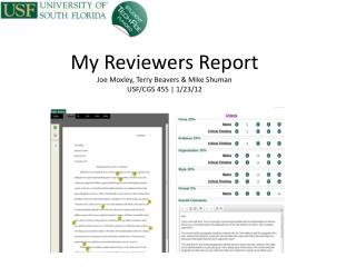 My Reviewers Report Joe Moxley, Terry Beavers & Mike Shuman USF/CGS 455 | 1/23/12