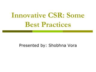 Innovative CSR: Some Best Practices