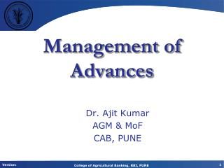 Management  of Advances