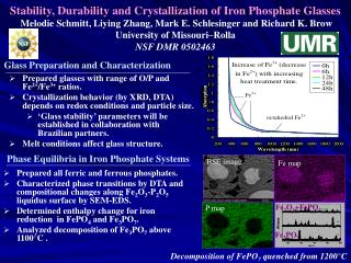 Stability, Durability and Crystallization of Iron Phosphate Glasses  Melodie Schmitt, Liying Zhang, Mark E. Schlesinger