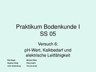 Praktikum Bodenkunde I      SS 05