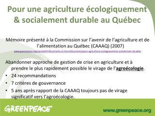 Pour une agriculture �cologiquement & socialement durable au Qu�bec