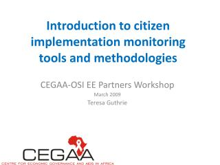 Introduction to citizen implementation monitoring tools and methodologies