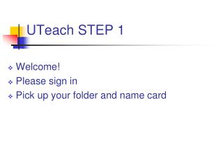 UTeach STEP 1