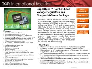 SupIRBuck ™ Point-of-Load Voltage Regulators in a Compact 4x5 mm Package
