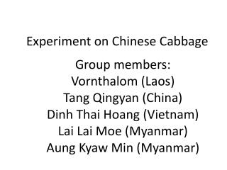 Experiment on Chinese Cabbage