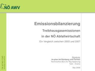 Emissionsbilanzierung Treibhausgasemissionen in der NÖ Abfallwirtschaft