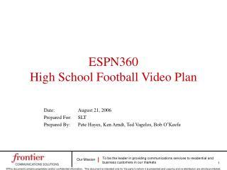 ESPN360 High School Football Video Plan