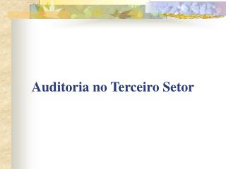 Auditoria no Terceiro Setor