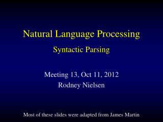 Natural Language Processing Syntactic Parsing