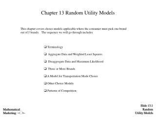Chapter 13 Random Utility Models