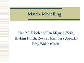 Matrix Modelling
