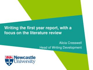 Writing the first year report, with a focus on the literature review