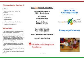 Sport in der Kindertagesstätte Bewegungsförderung