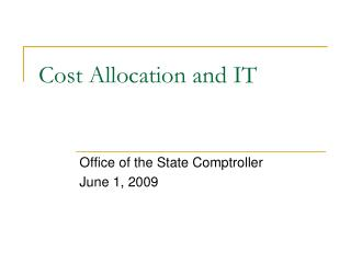 Cost Allocation and IT