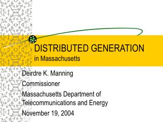 DISTRIBUTED GENERATION in Massachusetts