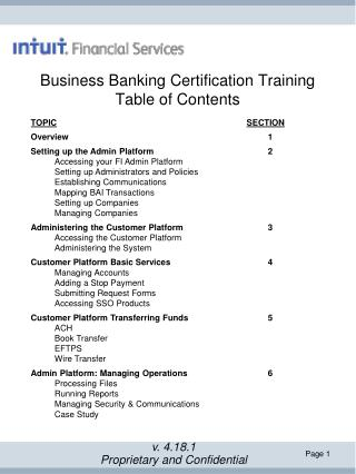 Business Banking Certification Training Table of Contents