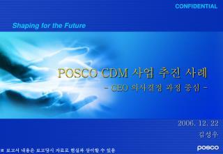 POSCO CDM  사업 추진 사례 - CEO  의사결정 과정 중심  -