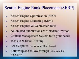 Search Engine Rank Placement (SERP)