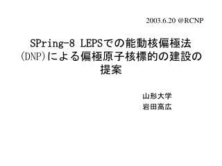 SPring-8 LEPS での能動核偏極法 (DNP) による偏極原子核標的の建設の提案