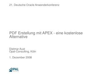PDF Erstellung mit APEX - eine kostenlose Alternative