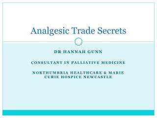 Analgesic Trade Secrets