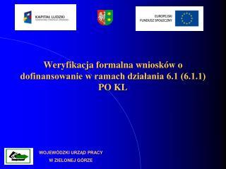 Weryfikacja formalna wniosków o dofinansowanie w ramach działania 6.1 (6.1.1) PO KL